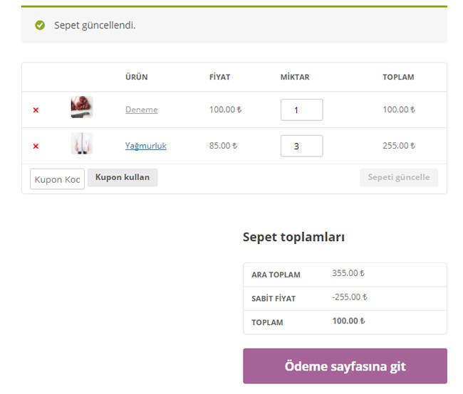 WooCommerce Sepette Sabit Fiyat